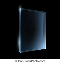 Empty glass box isolated on a black background