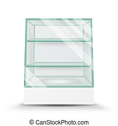 Empty Glass Cabinet Isolated On Transparent Background. Advertising Stand Glass Vector. 3d Empty Glass Showcase For Exhibit And Products