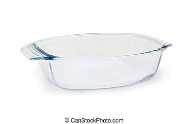 Empty glass casserole pan on a white background