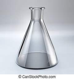 empty glass chemical flask stay on desk