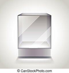 Empty glass cube showcase