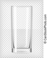 Empty tall glass. Realistic transparent vector illustration.