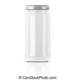 Empty glass transparent jar with silver cap. Vector illustration. Packaging collection.
