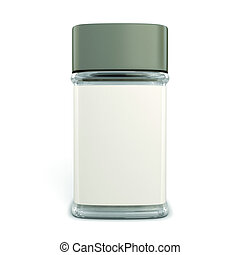 Empty glass jar for coffee with the label