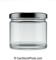 Empty glass jar isolated on a white background. 3d render