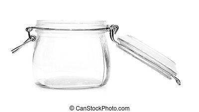 Empty glass jar isolated on white background
