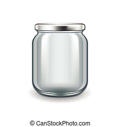 Empty glass jar isolated on white vector - Empty glass jar...