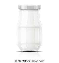 Empty glass jar with cap.