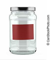 Empty Glass Jar with red label - Empty glass jar with red...