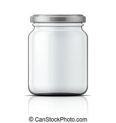 Empty glass jar with screw cap.