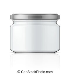 Empty glass jar with screw cap.