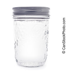 empty glass jarr isolated on a white background