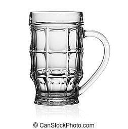 Empty glass mug for beer isolated