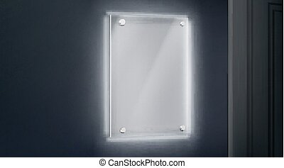 Empty glass name plate bolted to wall near doorway glowing ...