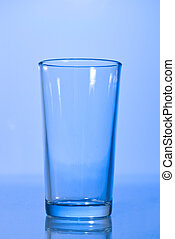 empty glass on blue
