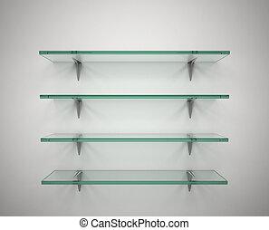 empty glass shelves - 3d illustration of empty glass shelves
