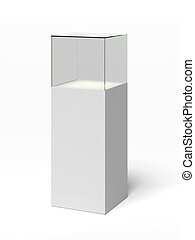 empty glass showcase  isolated on a white background