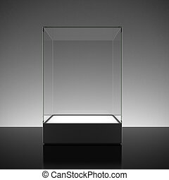 Empty glass showcase for exhibit on black surface