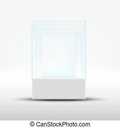 Empty glass showcase for exhibit isolated on white background