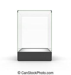 Empty glass showcase for exhibit isolated on white.Glass...