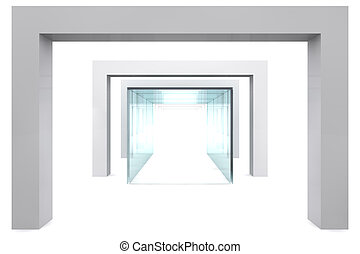 Empty glass showcase in grey room with columns