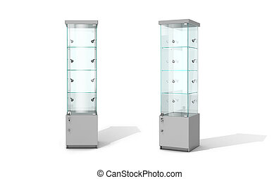 Empty glass showcase on a white background. 3D illustration.