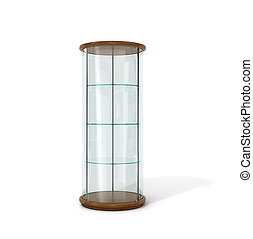 Empty glass showcase on a white background. 3D illustration.