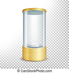 Empty Glass Showcase Podium With Spotlight And Sparks. Round Gold Blank For Exhibit And Display Your Product. Vector Realistic Illustration. Transparent Background