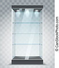 Empty glass showcase. Store shelving with spotlights,...