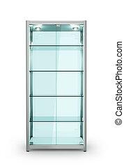 empty glass showcases. 3d illustration