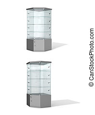 Empty glass showcases on a white background. 3D illustration.