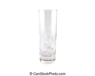 Empty glass with ice. Isolated on white.