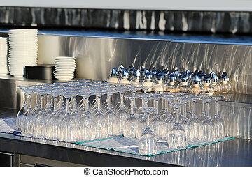 Empty glasses in the bar