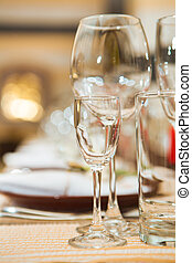 empty glasses on table