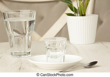 empty glasses on the table
