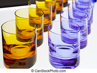 empty glasses stands on the table