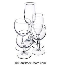 empty glassware on white background