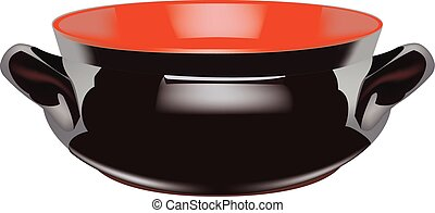 Empty glazed terracotta sauce pan - dark-colored terra cotta...