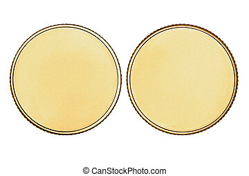 Empty gold coin or medal isolated on white background with clipping path