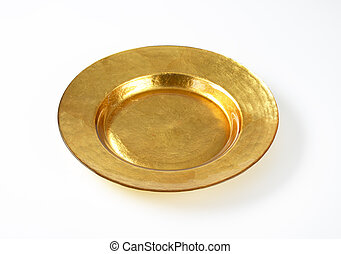 Empty gold plate