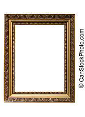 Empty gold plated wooden picture frame isolated on white...