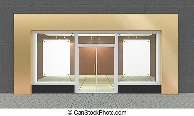 Empty Gold Store Front with Big Windows with border