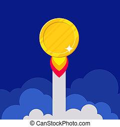 Empty golden coin starting