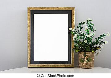 Empty Golden Frame On Wooden Shelf White Blank Advertisement Banner Mock Up Isolated Template
