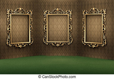 Empty golden frames on the wall in luxurious interior. Luxe apartment. Showroom