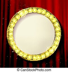 Empty golden painting round frame