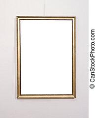 Empty golden picture frame on white wall