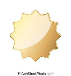 Empty golden seal icon. Vector illustration
