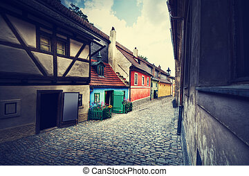 Empty Golden Street of Hrandcany, Prague. - Empty Golden...