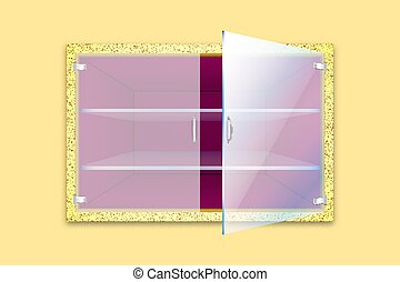 Empty golden textured cupboard or safe with ajar glass door ...